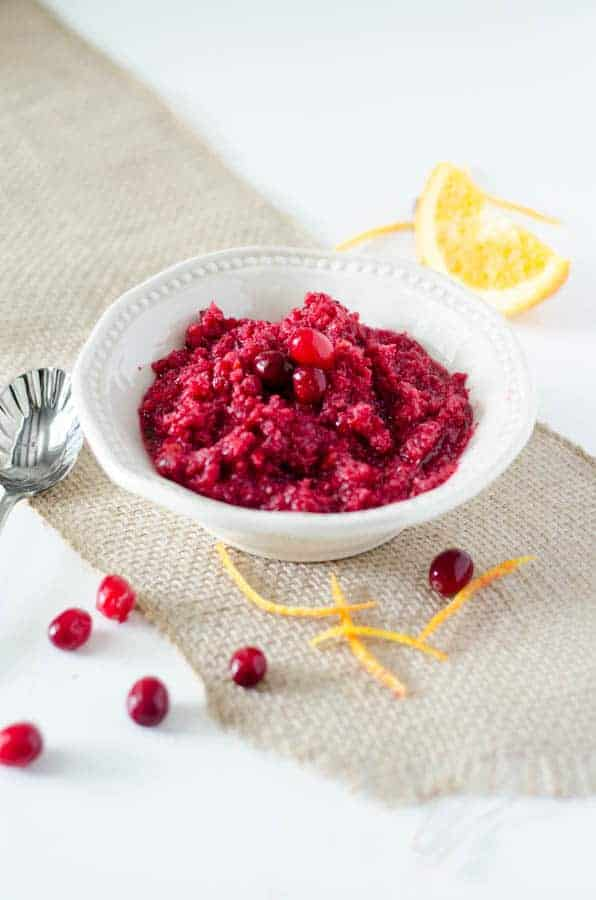 bowl of cranberry relish with spoon