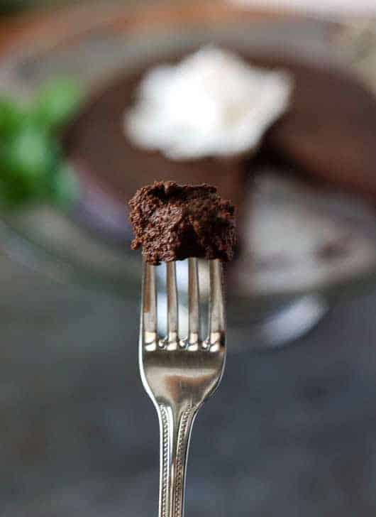 bite of chocolate cake on the tip of a fork