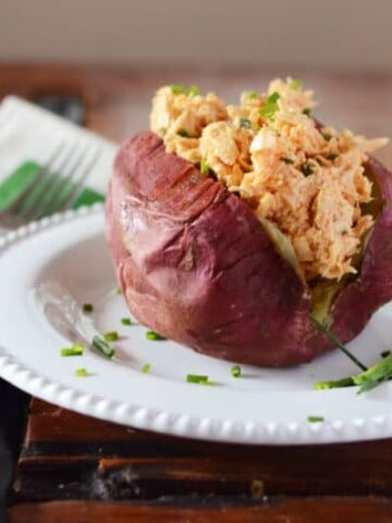Buffalo Chicken Stuffed Sweet Potato | Paleo Scaleo