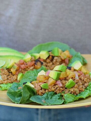 pork lettuce tacos with pineapple salsa | Paleo Scaleo