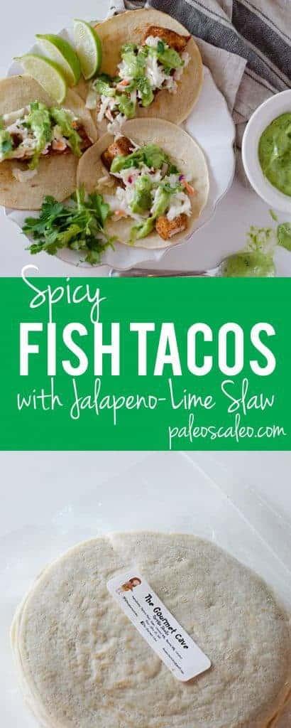 Spicy Fish Tacos with Jalapeno-Lime Slaw | PaleoScaleo.com