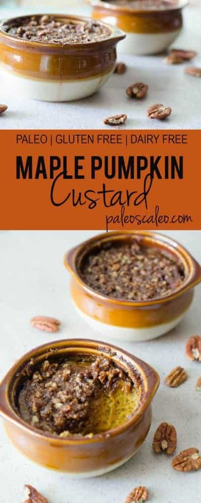 Maple Pumpkin Custard with a Pecan Crumble - the perfect fall treat! | PaleoScaleo.com