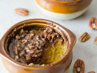 Maple pumpkin custard with a crunchy pecan topping - the perfect fall treat! | paleoscaleo.com