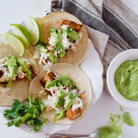 Spicy Fish Tacos with Jalapeno Lime Slaw | PaleoScaleo.com