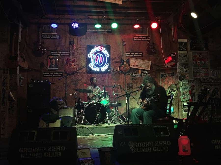 Band on stage in Ground Zero Blues Club