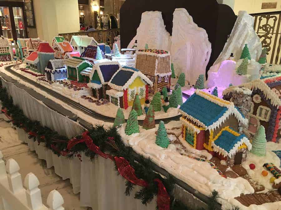 Gingerbread house village at The Peabody Hotel