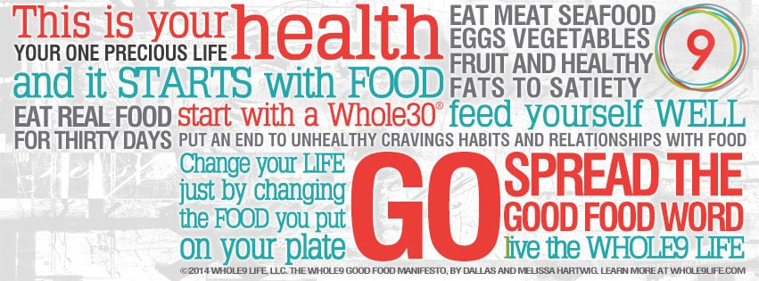 Image with text describing a Whole30 diet