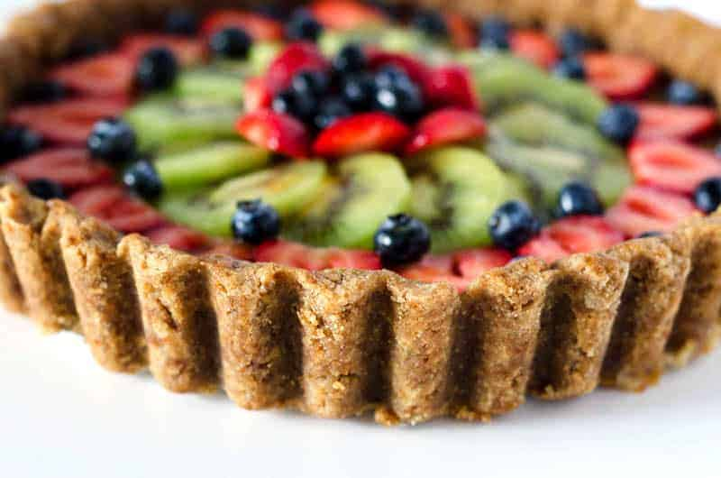 Close up view of a paleo fruit tart crust