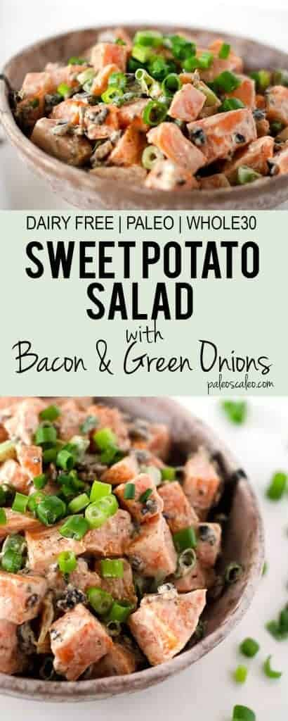 Sweet Potato Salad with Bacon and Green Onions | PaleoScaleo.com