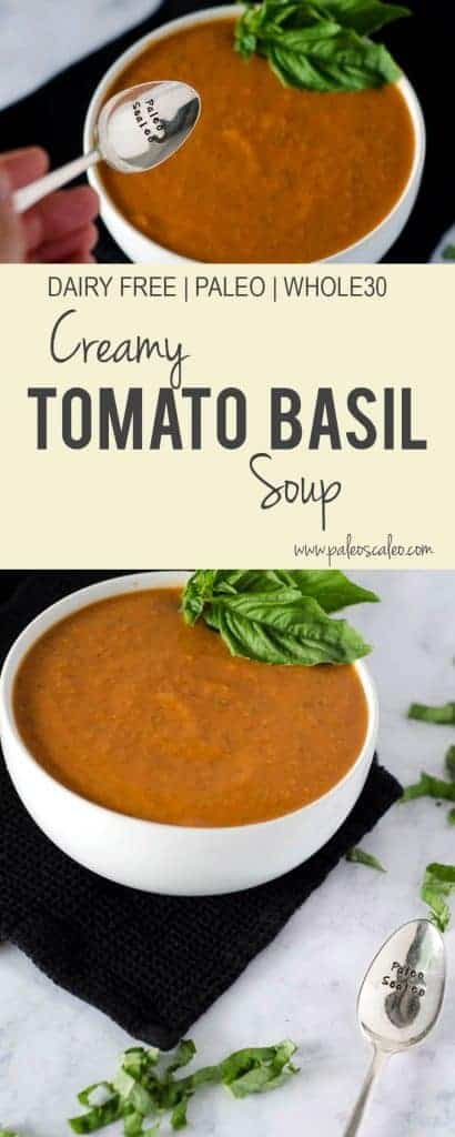 Creamy Tomato Basil Soup | PaleoScaleo.com