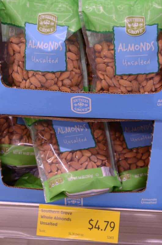 bags of almonds at Aldi
