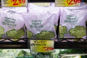 bags of riced broccoli