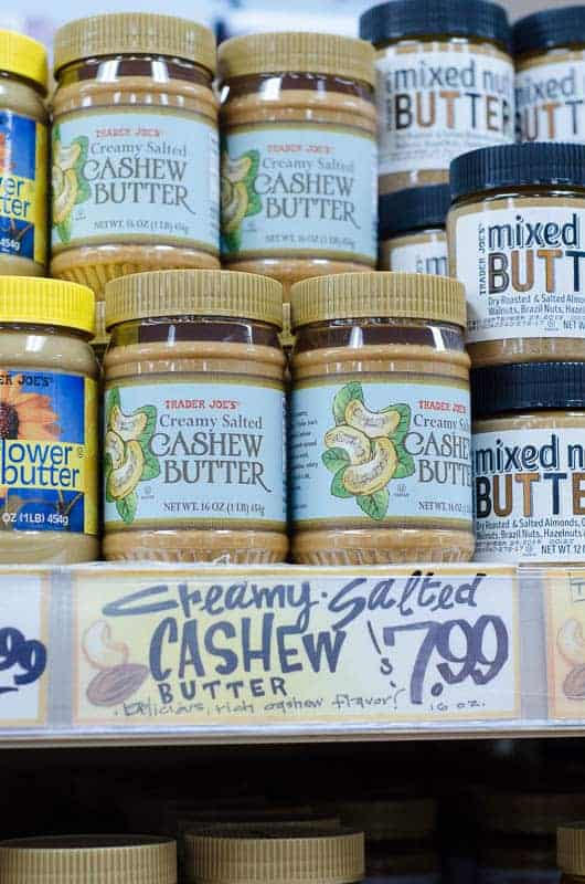 jars of cashew butter on shelf