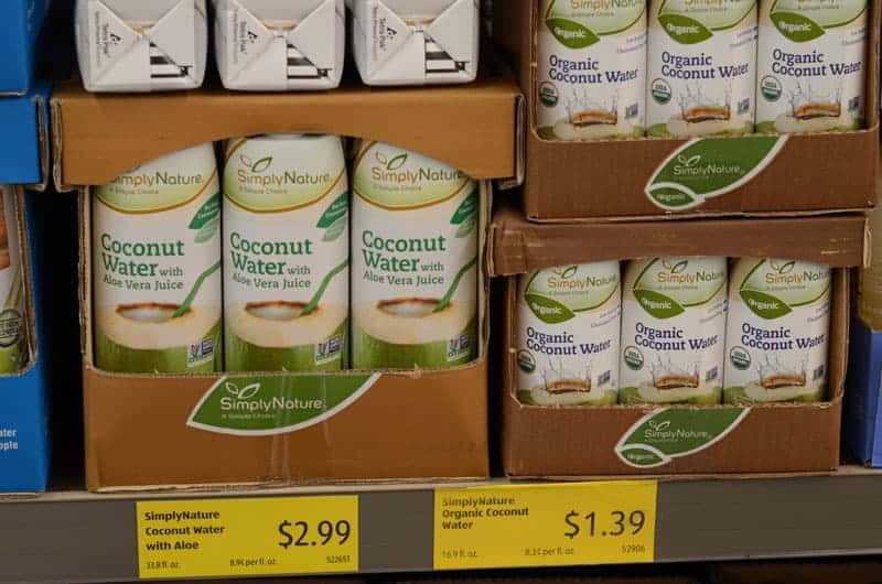 packaged coconut water at Aldi