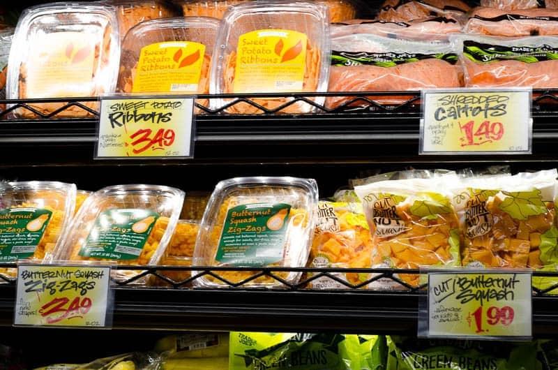 shelf of prepared and pre cut veggies