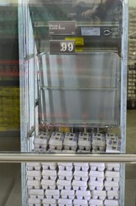 refrigerated egg case at Aldi