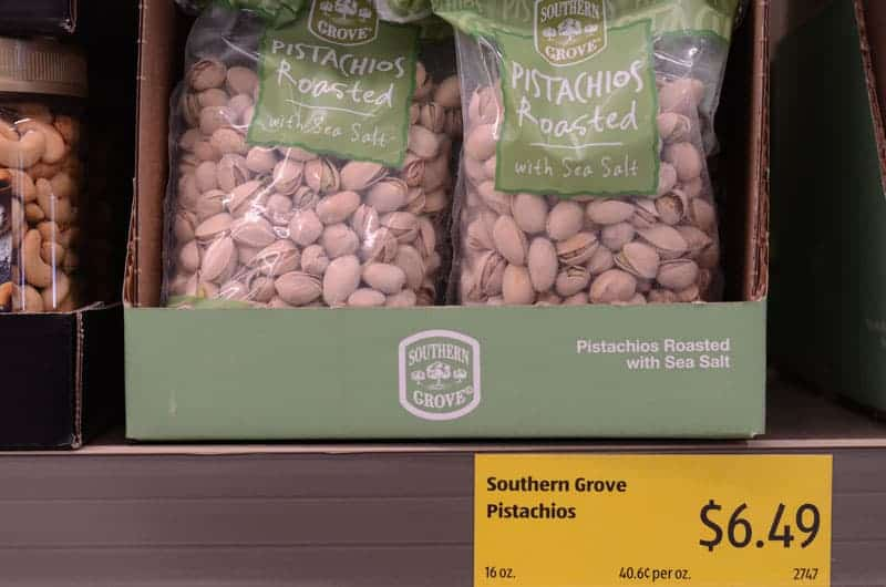 bag of pistachios at Aldi