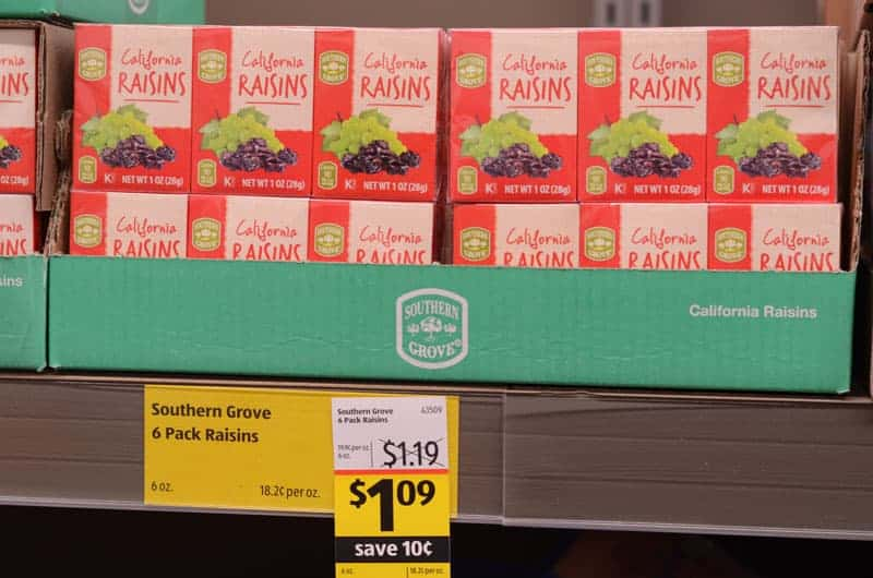 boxes of raisins at Aldi