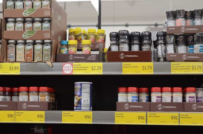 spices and seasonings at Aldi