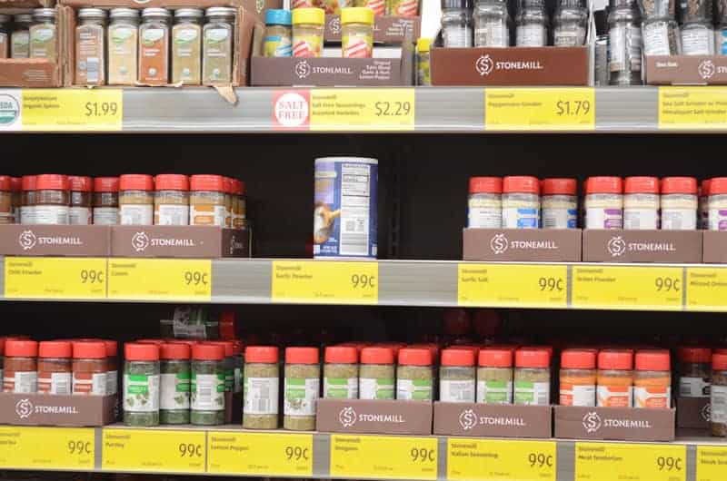 spices on shelf at Aldi
