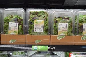 boxes of spring mix at Aldi