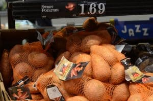 bags of sweet potatoes at Aldi