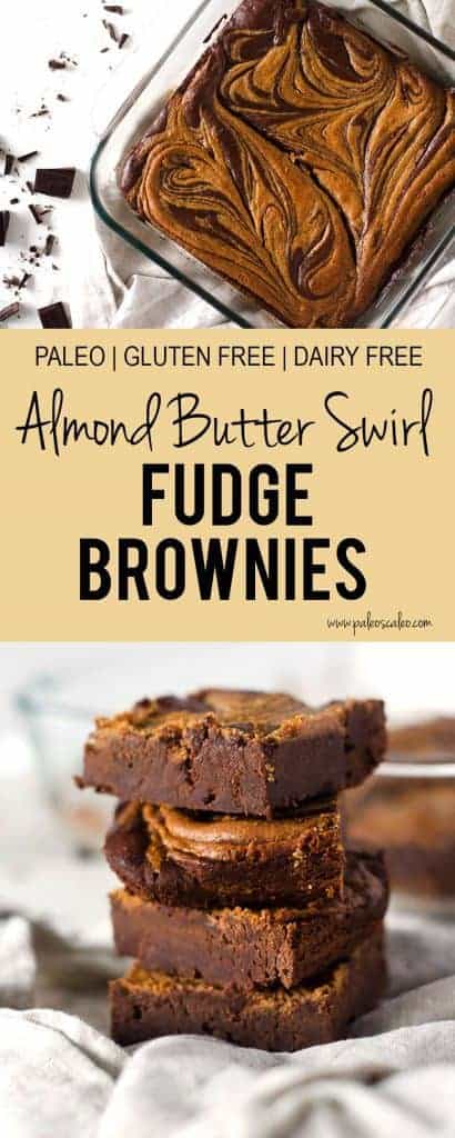 Rich, decadent fudge brownies meet an almond butter swirl for the ultimate paleo brownie! | PaleoScaleo.com