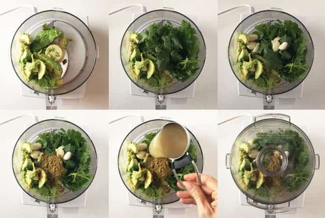 Overhead view of step by step shots in food processor