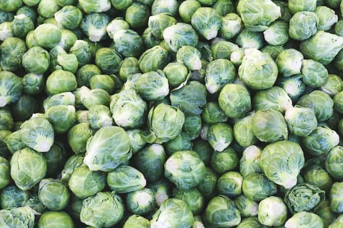 Overhead shot of raw brussel sprouts