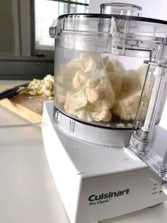 cauliflower florets in food processor