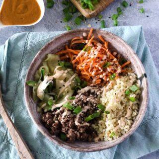 Ground Beef Bulgogi Bowls with Spicy Chili Aioli
