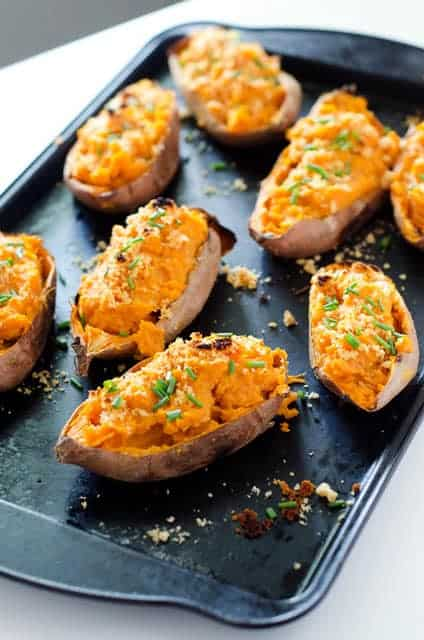 baking sheet with twice baked sweet potatoes