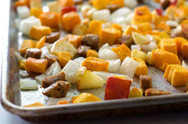 sheet pan meal with sausage, apple, onion, squash