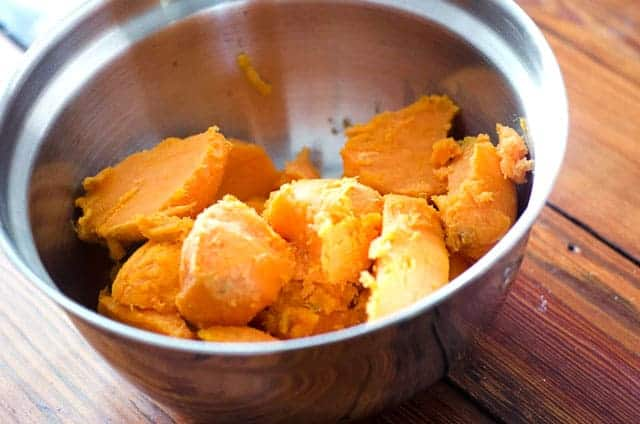 bowl of baked sweet potato insides