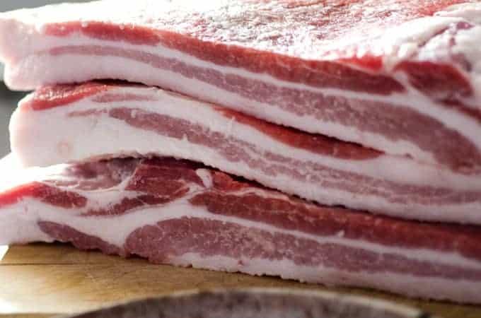Close up of pork belly cuts