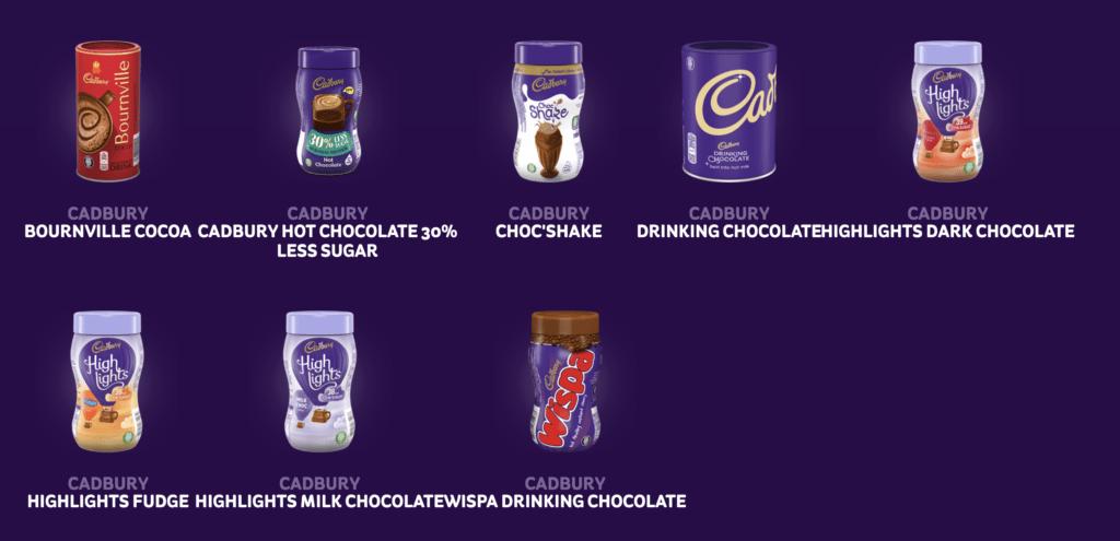 Cadbury hot chocolate options