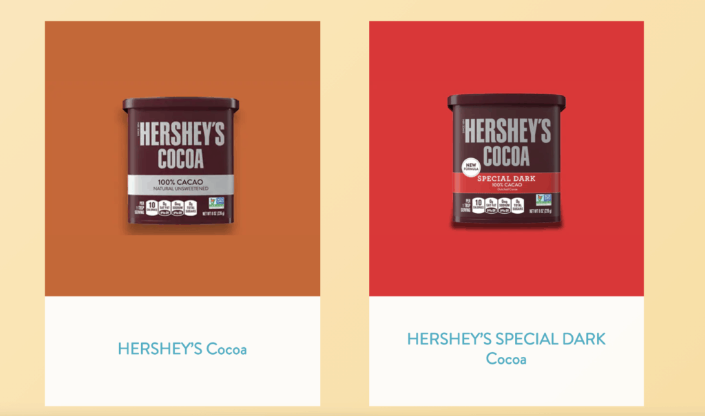 hershey's cocoa packages