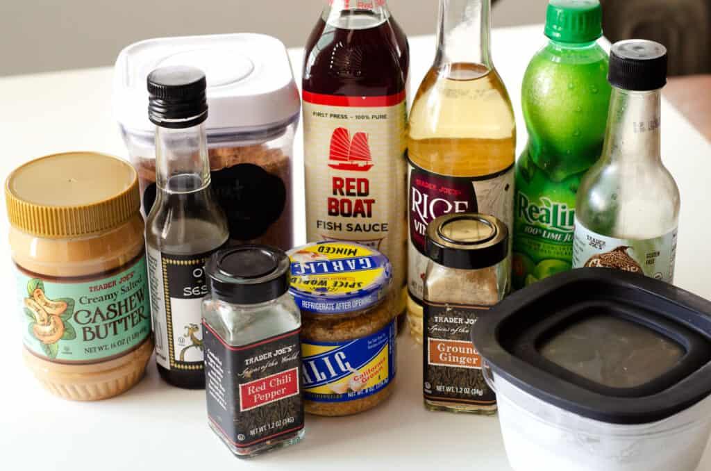 pad thai peanut sauce ingredients on table