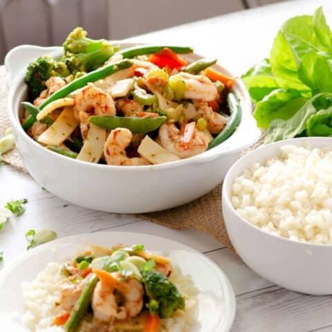 Lemongrass Basil Paleo Shrimp Stir Fry