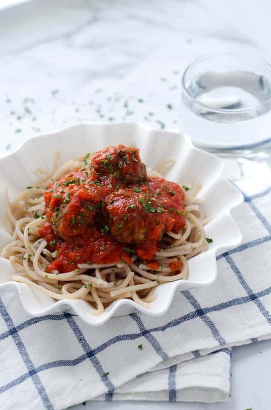 bowl of paleo spaghetti and meatballs on a table