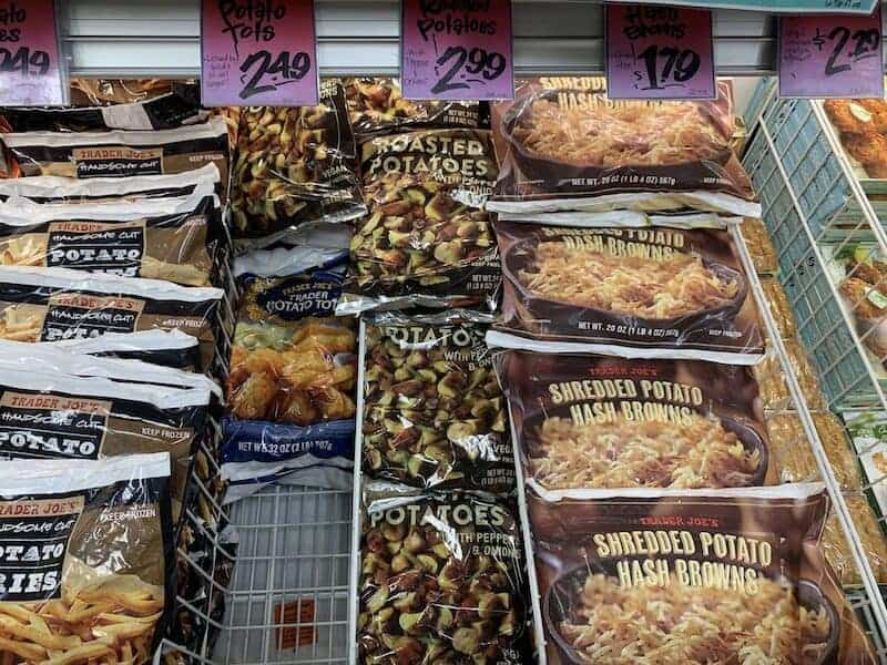 Trader Joes frozen roasted potato packages in store
